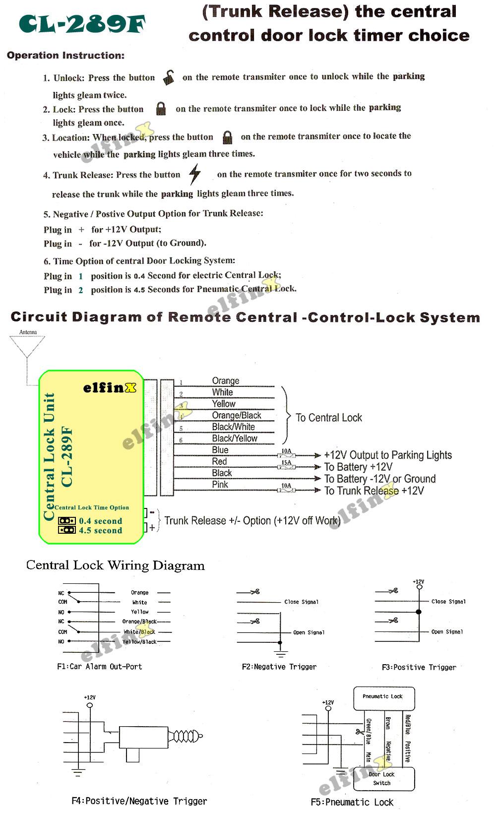 Elfinx Central Door Locking System Wiring Diagram